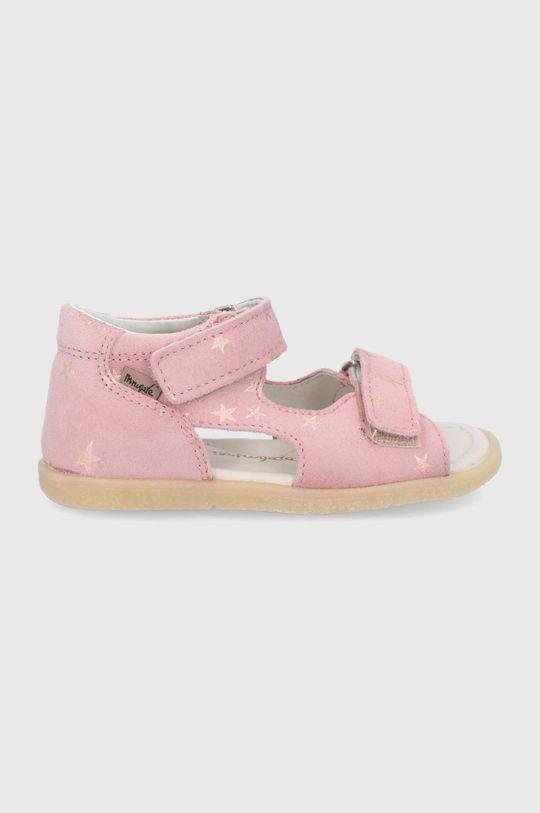 pastelově růžová Mrugała - Dětské kožené sandály Dívčí