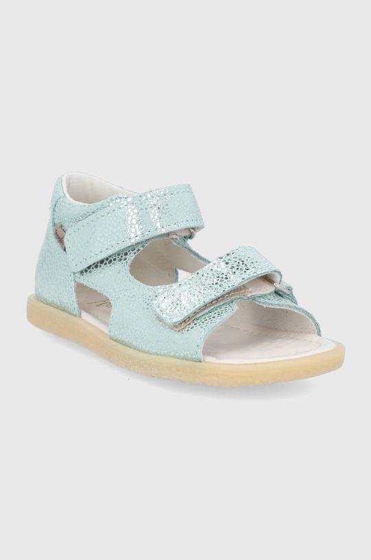 Mrugała - Dětské kožené sandály světle zelená