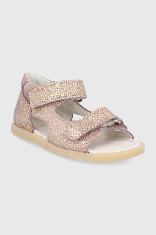 Mrugała - Dětské kožené sandály zlatá
