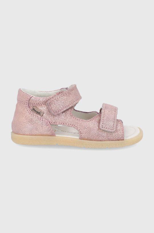 růžová Mrugała - Dětské kožené sandály Dívčí