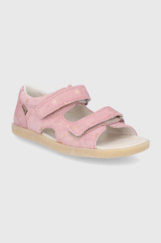 Mrugała - Dětské kožené sandály pastelově růžová