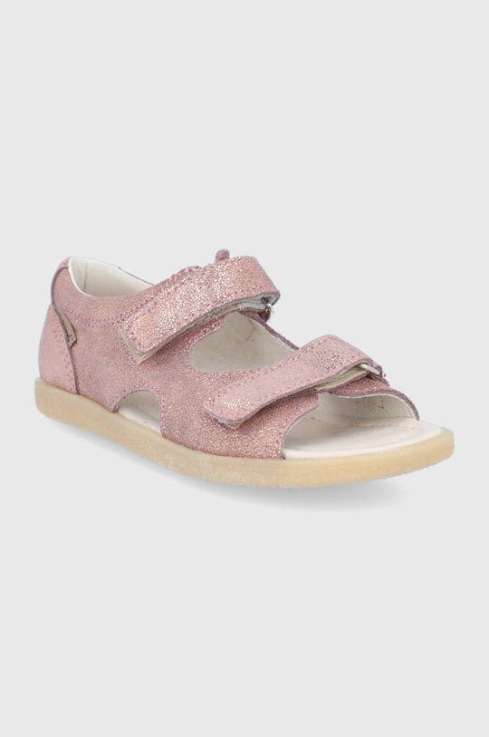 Mrugała - Dětské kožené sandály růžová
