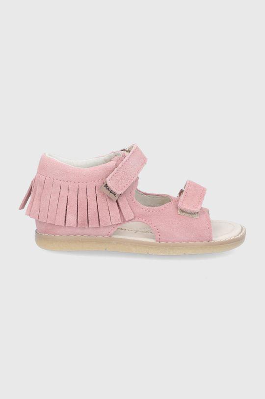 pastelowy różowy Mrugała - Sandały zamszowe dziecięce Dziewczęcy