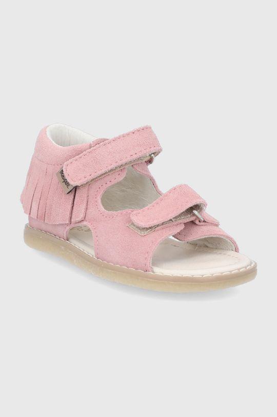 Mrugała - Sandały zamszowe dziecięce pastelowy różowy