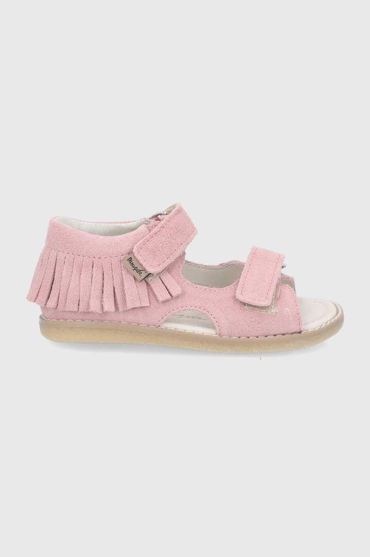 roz pastelat Mrugała - Sandale din piele intoarsa pentru copii De fete