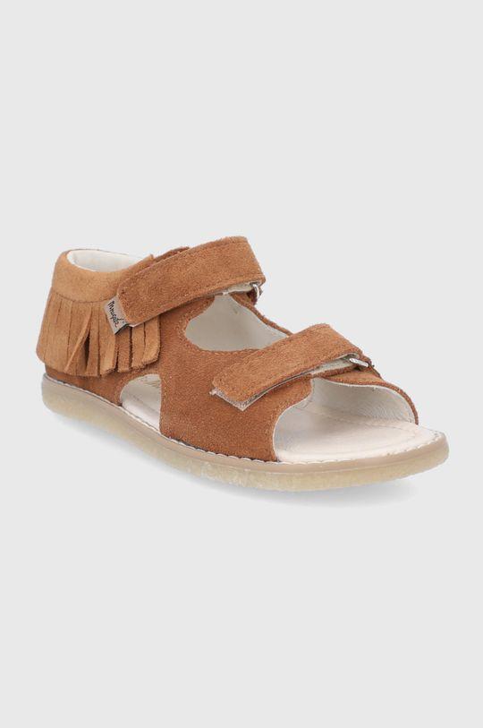 Mrugała - Detské semišové sandále kávová