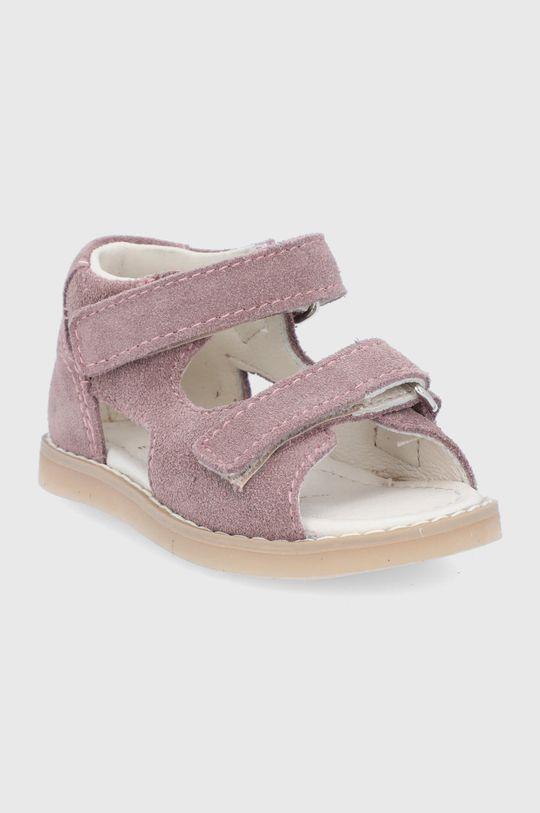 Mrugała - Sandale din piele intoarsa pentru copii roz pastelat