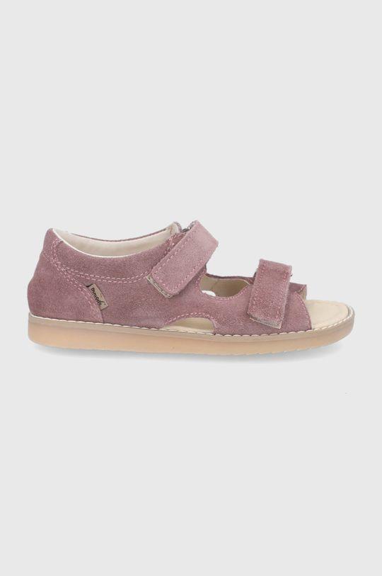 pastelová ružová Mrugała - Detské kožené sandále Dievčenský