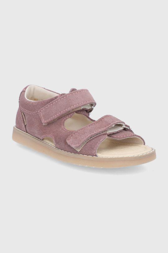 Mrugała - Detské kožené sandále pastelová ružová