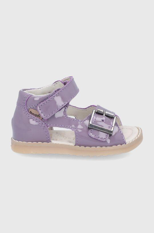 lawendowy Mrugała - Sandały skórzane dziecięce Dziewczęcy