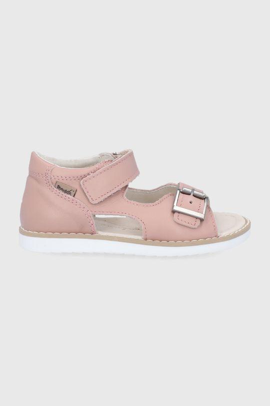 pastelowy różowy Mrugała - Sandały skórzane dziecięce Dziewczęcy