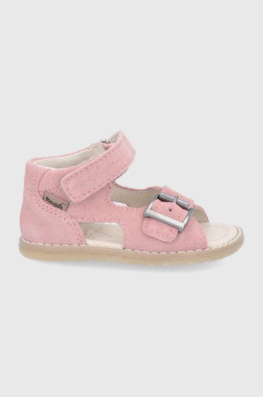 roz pastelat Mrugała - Sandale din piele pentru copii De fete