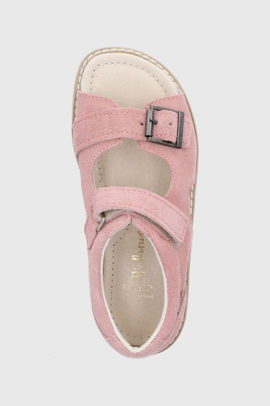 pastelová ružová Mrugała - Detské kožené sandále