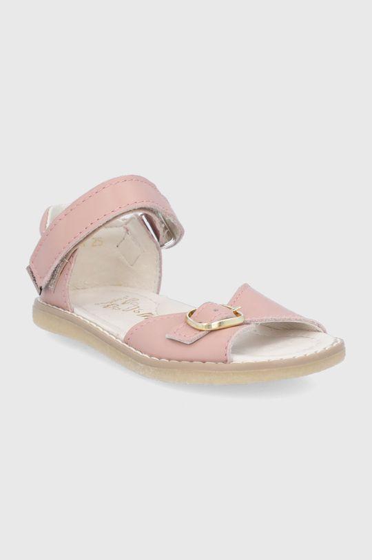 Mrugała - Sandale din piele pentru copii roz pastelat