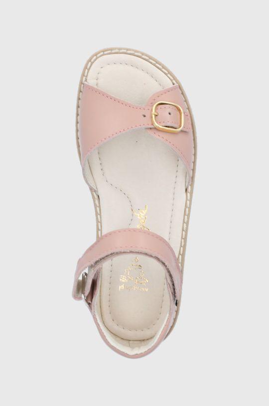 pastelově růžová Mrugała - Dětské kožené sandály