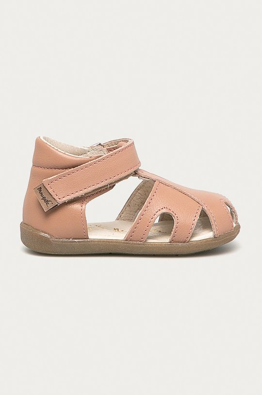 pastelově růžová Mrugała - Dětské semišové sandály Dívčí