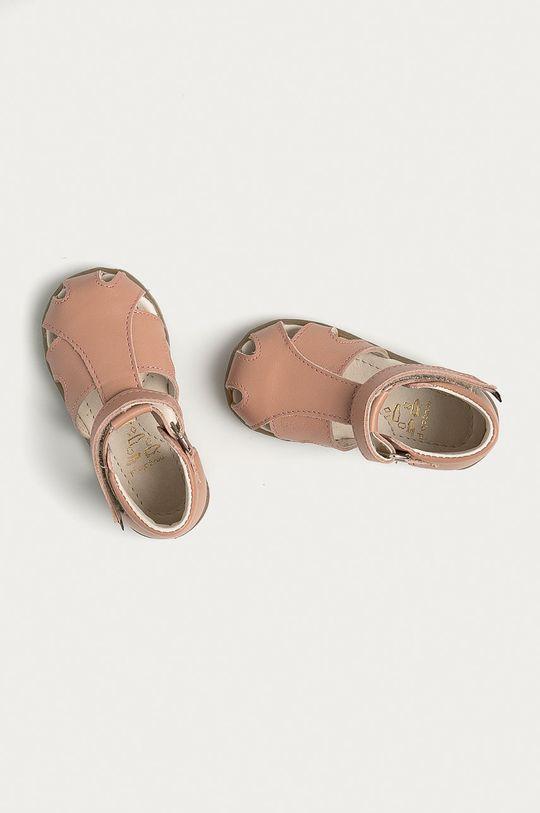 pastelově růžová Mrugała - Dětské semišové sandály