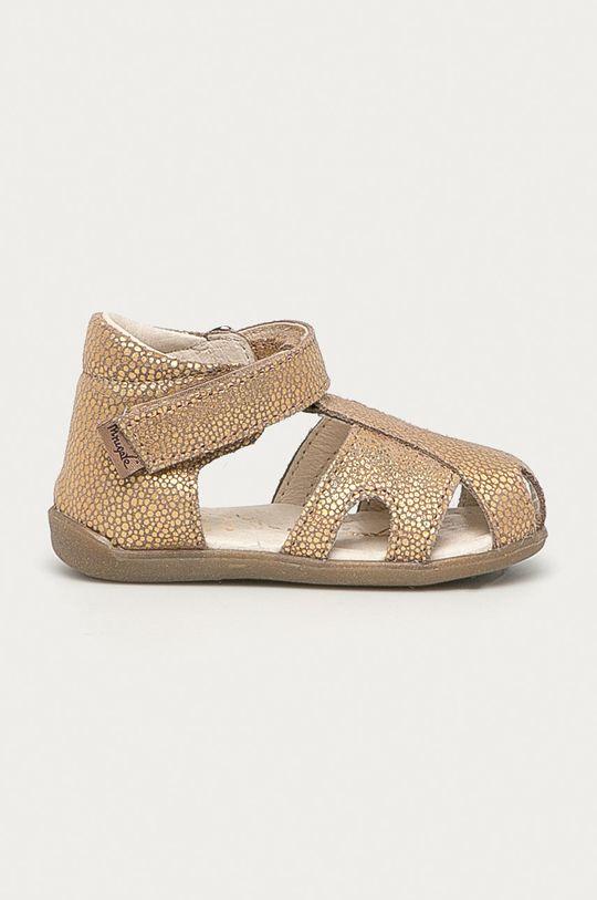 zlatá Mrugała - Dětské semišové sandály Dívčí
