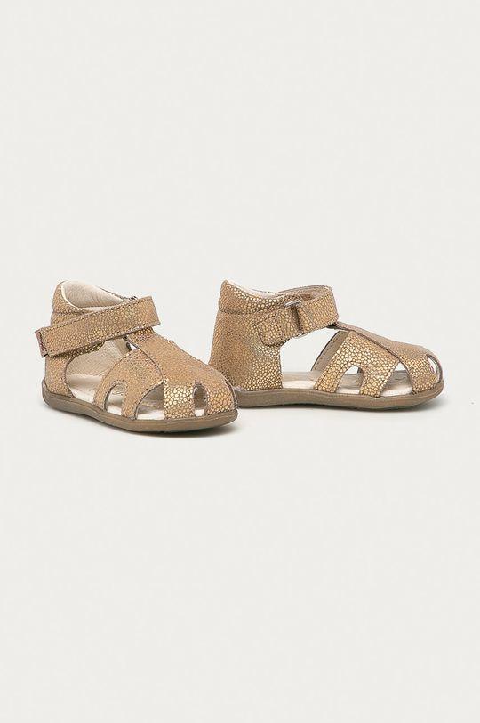 Mrugała - Dětské semišové sandály zlatá