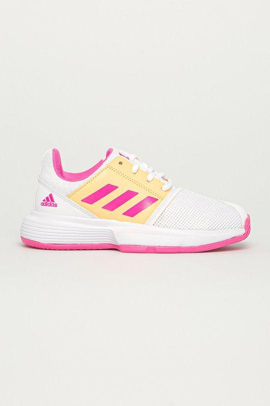 alb adidas Performance - Pantofi copii CourtJam xJ De fete