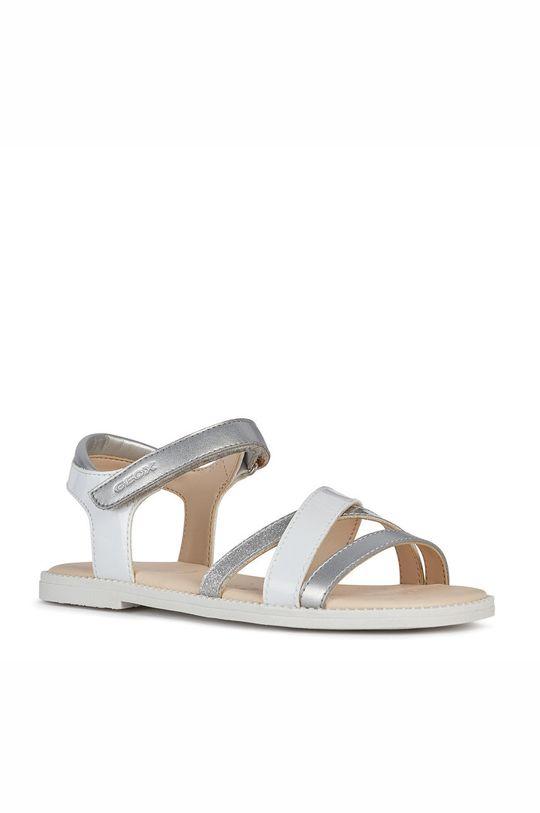Geox - Dětské kožené sandály bílá