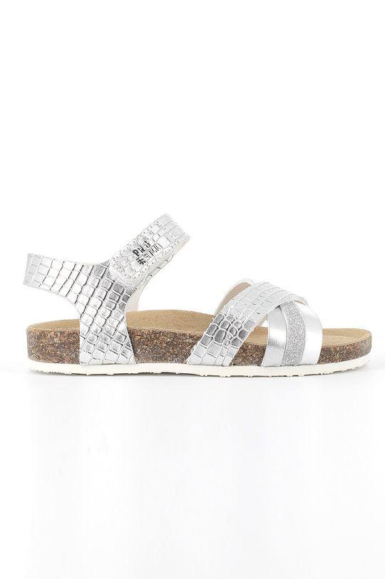 stříbrná Primigi - Dětské kožené sandály Dívčí