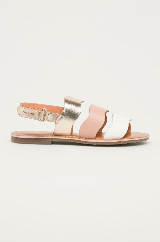 fialovo-růžová Pepe Jeans - Dětské kožené sandály Mandy 3 Waves Dívčí