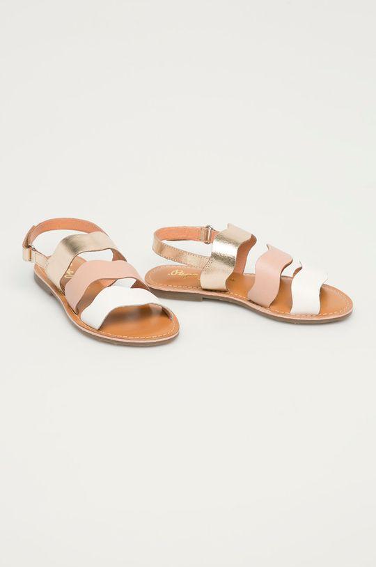 Pepe Jeans - Dětské kožené sandály Mandy 3 Waves fialovo-růžová