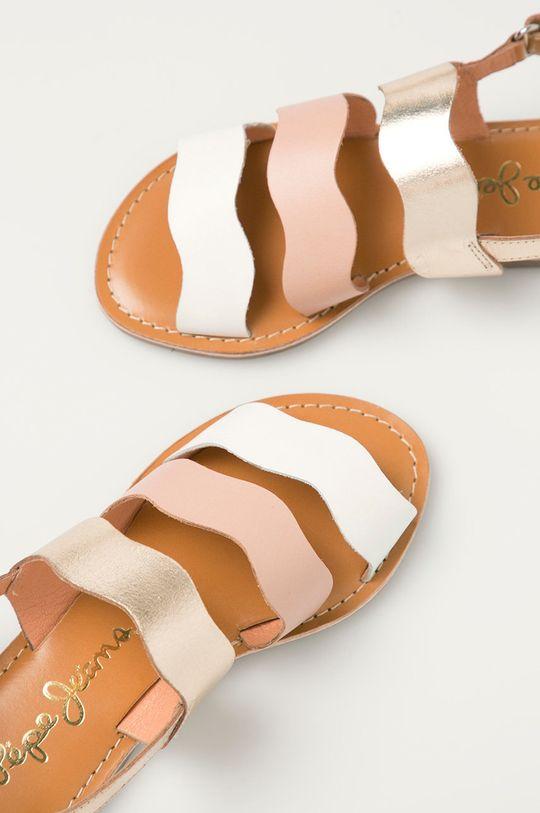 fialovo-růžová Pepe Jeans - Dětské kožené sandály Mandy 3 Waves