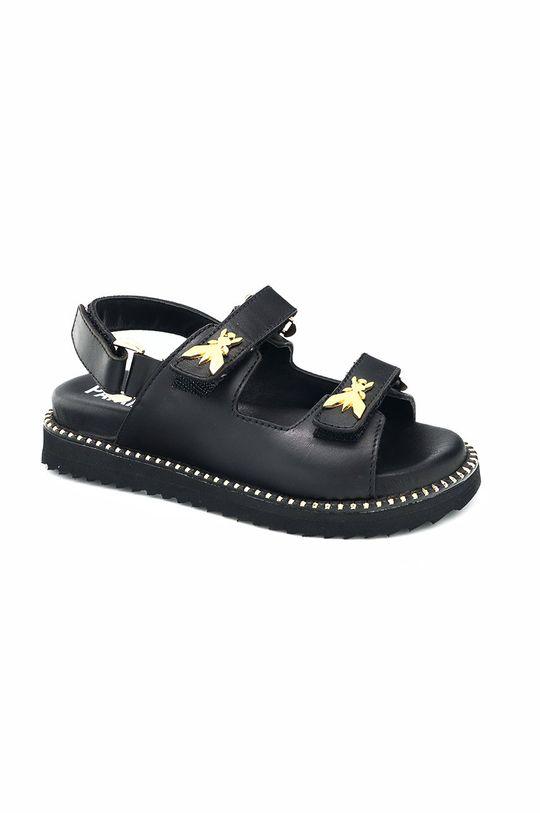 czarny Patrizia Pepe - Sandały skórzane dziecięce Dziewczęcy