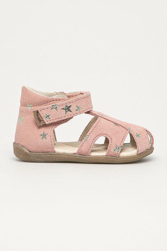 růžová Mrugała - Dětské semišové sandály z narozeninové kolekce Dívčí