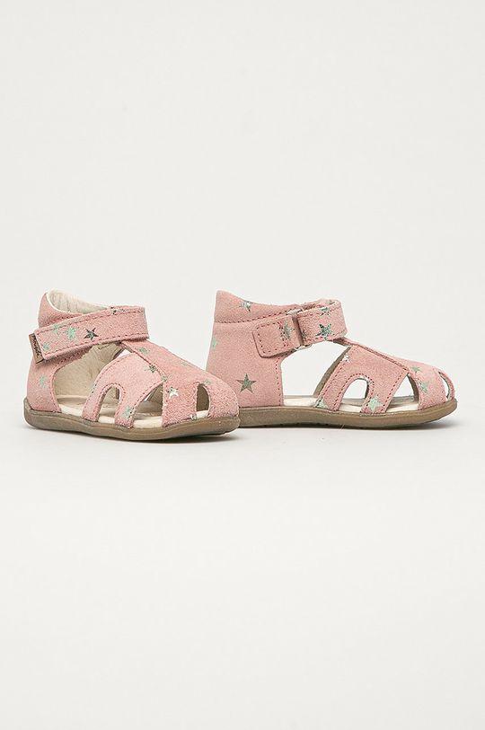 Mrugała - Dětské semišové sandály z narozeninové kolekce růžová