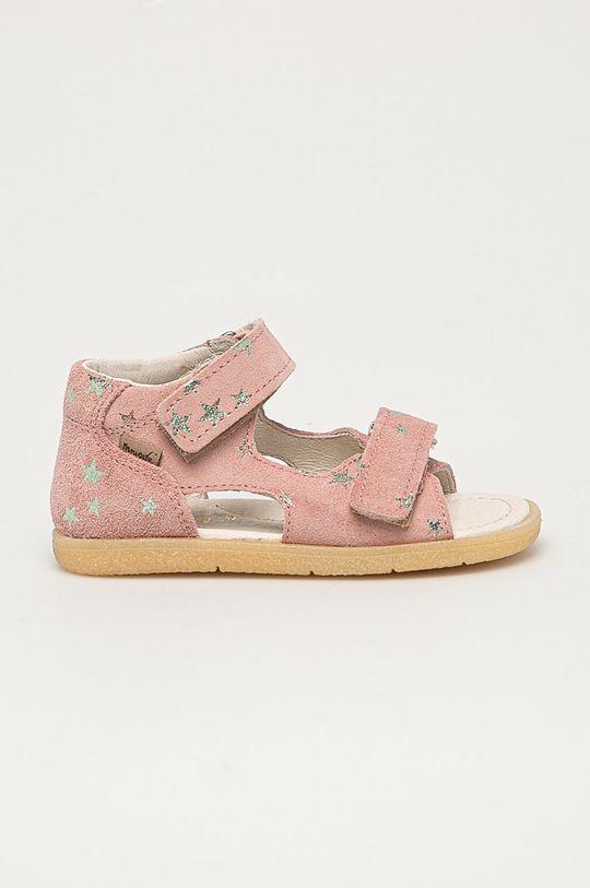 ružová Mrugała - Detské semišové sandále z narodeninovej kolekcie Dievčenský