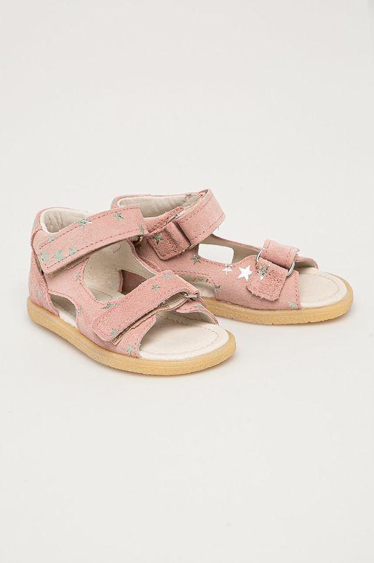 Mrugała - Detské semišové sandále z narodeninovej kolekcie ružová