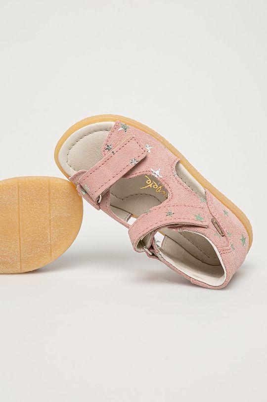 ružová Mrugała - Detské semišové sandále z narodeninovej kolekcie