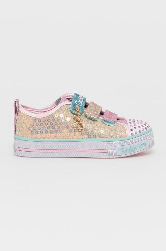 złoty Skechers - Buty dziecięce Dziewczęcy
