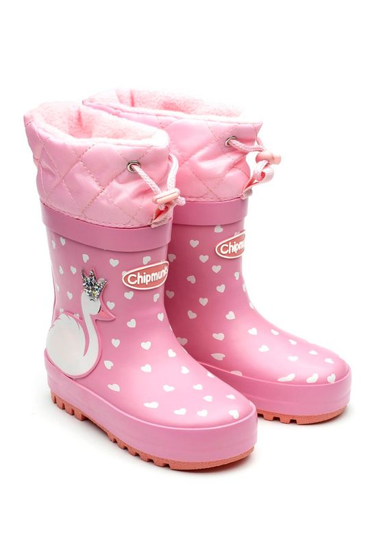 różowy Chipmunks - Kalosze dziecięce SWAN Dziewczęcy