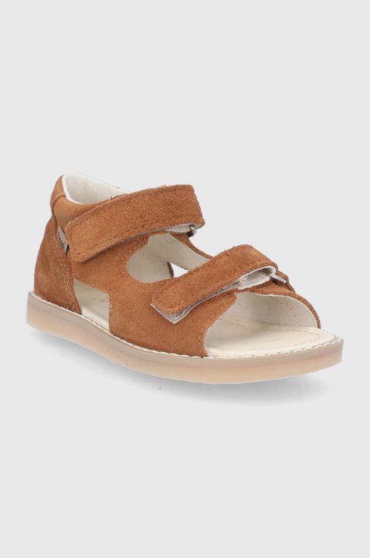 Mrugała - Sandale din piele intoarsa pentru copii cafea