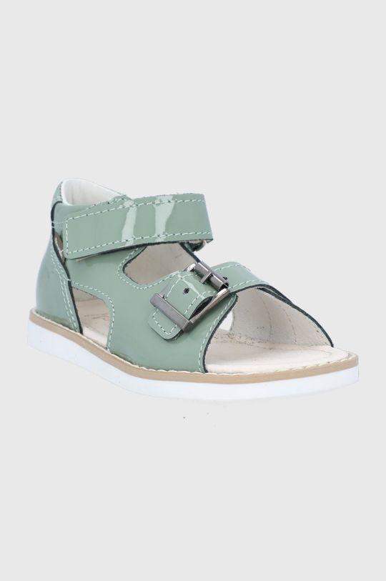 Mrugała - Sandały skórzane dziecięce blady zielony