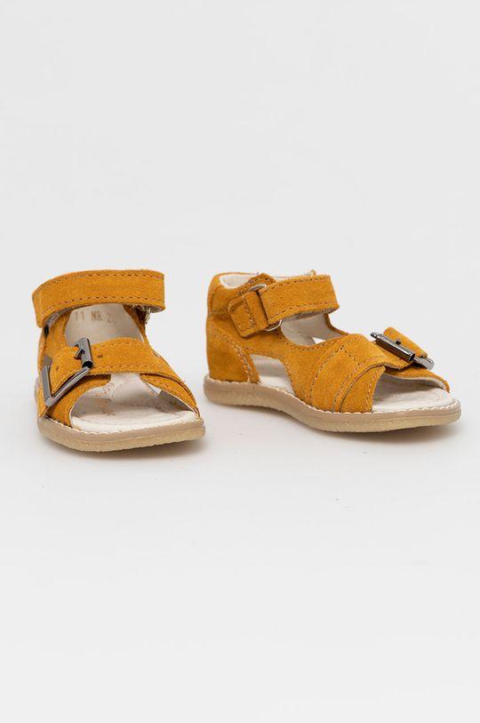 Mrugała - Dětské semišové sandály jasně oranžová
