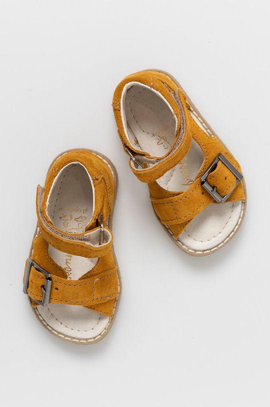 jasně oranžová Mrugała - Dětské semišové sandály