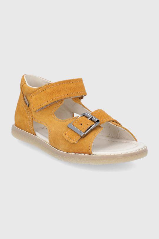 Mrugała - Detské semišové sandále svetlo oranžová