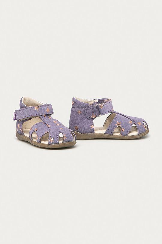 Mrugała - Dětské kožené sandály levandulová