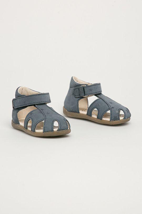 Mrugała - Dětské semišové sandály z narozeninové kolekce námořnická modř