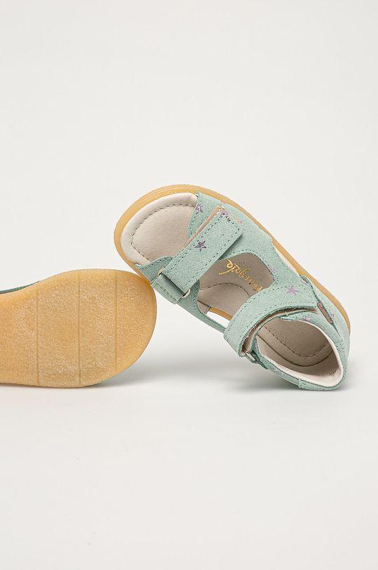 brudny zielony Mrugała - Sandały zamszowe dziecięce z kolekcji urodzinowej