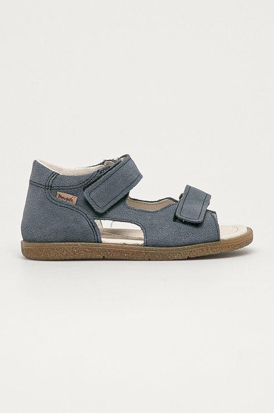 tmavomodrá Mrugała - Detské semišové sandále z narodeninovej kolekcie Detský