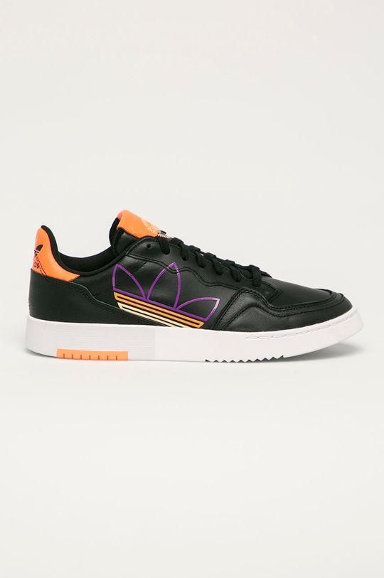 černá adidas Originals - Kožené boty Supercourt Pánský