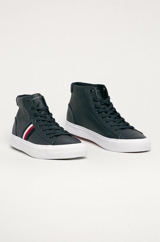 Tommy Hilfiger - Kožená obuv tmavomodrá