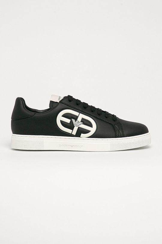 černá Emporio Armani - Kožené boty Pánský