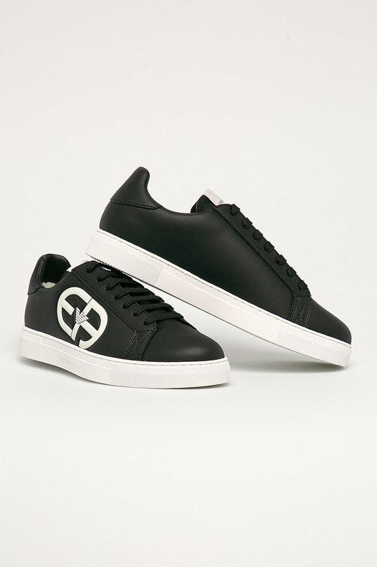 Emporio Armani - Kožené boty černá